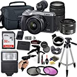 Canon EOS M6 Mark II Mirrorless Digital Camera (Silver) with EF-M 15-45mm Lens & EF 75-300mm Lens + Pro Lens Mount Auto Adapter - EOS (EF/EF-S to EF-M Mount) + Deluxe Accessory Bundle