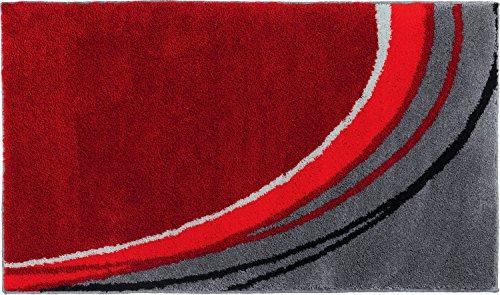 Erwin Müller Badematte, Badteppich, Badvorleger rutschhemmend rot Größe 60x100 cm - kuscheliger Hochflor, für Fußbodenheizung geeignet (weitere Farben, Größen)