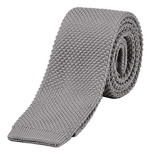 DonDon corbata de punto estrecha de color gris claro 5cm