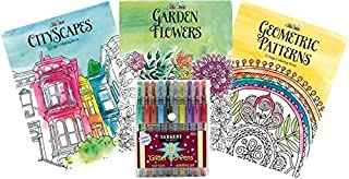 Adult Colouring Book Kit with Glitter Marker Set