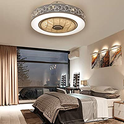 Ceiling Fan Light, Enclosed Round LED Dimmable Ceiling Lighting Fan with Invisible Blades,Semi Flush Mount Low Profile Fan W/Remote Control for Bedroom Office Living Room Children's Room 110V