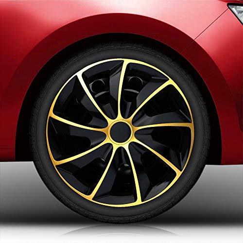 Autoteppich Stylers 16 Zoll Radkappen Bundle (Schwarz-Gold) passend für Fast alle Fahrzeugtypen – universell