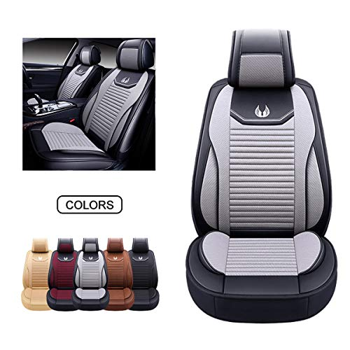 OASIS AUTO Leather&Fabric Car Seat Covers, Faux Leatherette Automotive Vehicle Cushion Cover for Cars SUV Pick-up Truck Universal Fit Set Auto Interior Accessories (OS-008 Front Pair, Grey)