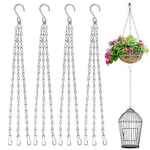 Bakiauli Cadena de Maceta, cestas Colgantes Cadenas Ajustables con Clip para Colgar jardineras (40cm 5 Piezas)