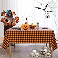 Image: Halloween Checkered Vinyl Rectangle Tablecloth - 60 x 84 Inch - 100% Waterproof Oil Spill Proof PVC Table Cloth, Wipe Clean Table Cover Dining Table, Buffet Party and Camping, Orange and Black | Visit the sancua Store