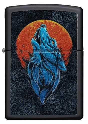 Zippo Wolf Only 60005571 - Mechero de Gasolina Recargable con Caja de Regalo, Color Negro Mate