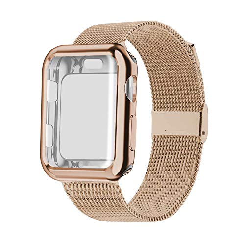 YC YANCH Compatible with Apple Watch Band 42mm with Case, Stainless Steel Mesh Loop Band with Apple Watch Screen Protector Compatible with iWatch Apple Watch Series 1/2/3/4/5 (42mm Light Gold)