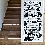 Cyalla Bande Dessinée Dans Cette Maison Nous Cite Règles Mur Art Autocollants Stickers Pépinière Pour Les Chambres D'Enfants Décor 100 * 47Cm