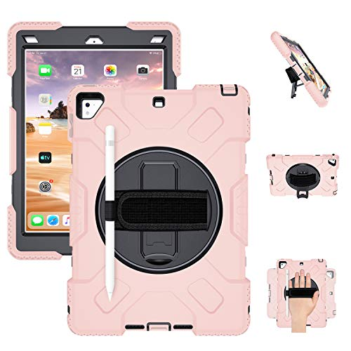 iPad Air 2 Case, iPad 5th / 6th Generation Case, iPad 9.7 Inch 2018/2017 Case, Shockproof Protective Cover Case,360 Rotating Stand Hand Strap Shoulder Strap Pencil Holder for iPad Pro 9.7 inch,Pink
