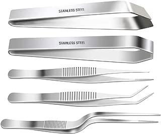 SelfTek Stainless Steel Tongs Tweezers 5 Piece Set, 3 Pcs 6.3 Inch Tweezers,4.7 Inch Flat and Slant Fish Bone Tweezers Pliers for Chef Cooking Utensils