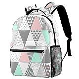 Mochila escolar de 40,6 cm para estudiantes, bolsa de viaje básica para portátil, diseño de triángulos, color pastel