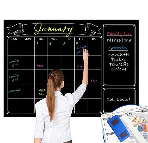 Dry Erase Black Laminated Jumbo Chalk Board Wall Calendar, 38-Inch by 50-Inch,Erasable Monthly Huge Weekly Chalkboard Bulletin Board,Better Than Wall Decor Sticker