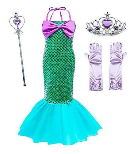 Le SSara Vestido de Fiesta de Lentejuelas de Disfraces de Princesa Ariel para Niñas con Accesorios para Niños (100(3-4 años), D75+Pur1)