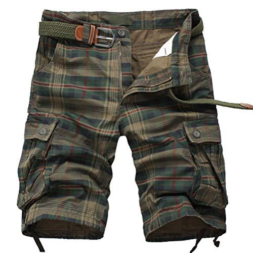 Meerway Bermudas Pantalones Cortos de Cargo del Estilo Bolsillo múlti