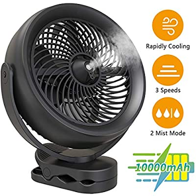 KOONIE 10000mAh Battery Operated Misting Fan with Clip, 8-Inch USB Fan for Desk With Clip, Detachable Battery, 3 Speeds, 2 Mist Modes with 200ml Tank, 48 Hours Working Time, 360°Rotation for Home, Stroller, Office, Camping and Outdoor