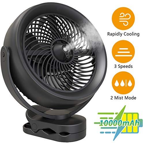 KOONIE 10000mAh Battery Operated Misting Fan with Clip, 8-Inch USB Fan...