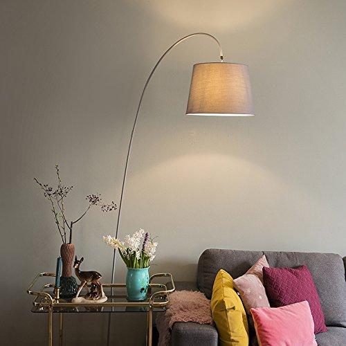 QAZQA Lampada da terra arco bend - Moderno - Pietra/calcestruzzo,Acciaio - Grigio - Oblungo Max. 1 x 60 Watt