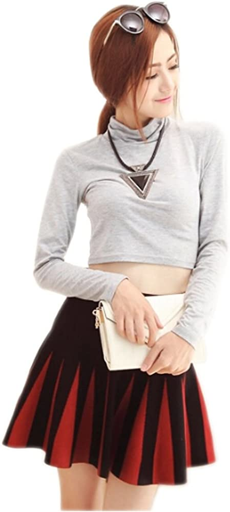 [Black&Red] Ladies' Flexible Weave Flare Skirts Women's Fashion Skirts