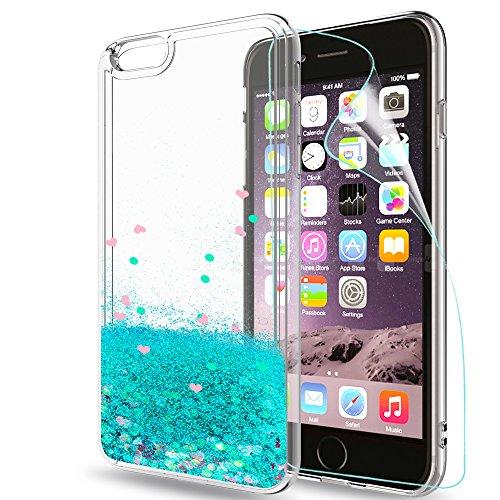 LeYi Coque pour iPhone 6/iPhone 6S avec Film de Protection écran, Fille Personnalisé Liquide Paillette Transparente 3D Silicone Antichoc Kawaii Protection Etui pour Apple iPhone 6/iPhone 6S Bleu Ciel