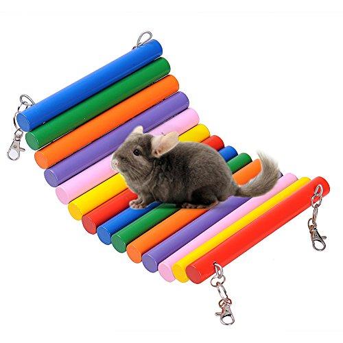 Hypeety Hamster Hamac balançoire souple Rainbow Couleur Cage Bois Hamac balançoire Échelle jouet pour hamster chinchilla Animal de petite taille
