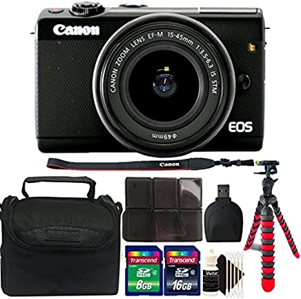 $407 » Canon EOS M100 Mirrorless Digital Camera with 15-45mm Lens (Black) + 24GB Memory Card + Card Holder + Reader + Case + Flexible Tripod + 3pc Cleaning Kit