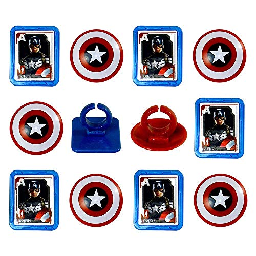 Price comparison product image Marvel Captain America Shield Rings,  12 Pack Cupcake Toppers,  Two Designs.