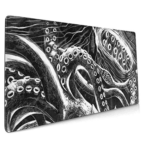 Ocean Scratchboard Art Printed Extended Mouse Pad Large Gaming Mouse Mat,35.4315.740.12 Inch Non-Slip Mousepad Rubber Base and Stitched Edges for Game Players, Office, Study