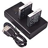DSTE 2X NB-6L Repuesto Batería + Cargador USB Dual con Pantalla LCD Compatible para NB-6LH y Canon PowerShot X500, SD3500, SD4000, IS SX275, SX510, SX600, SX610, SX710, HS D10, D20, ELPH 500 HS