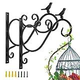 Lewondr Support Plante Mural Balcon, Lot de 2 Rétro Européen Forme d'Oiseau, Crochet de Suspension en Fer Forgé, pour lanterne à paniers avec Vis, Décor Extérieur pour Balcon de Jardin - Peinture Noir