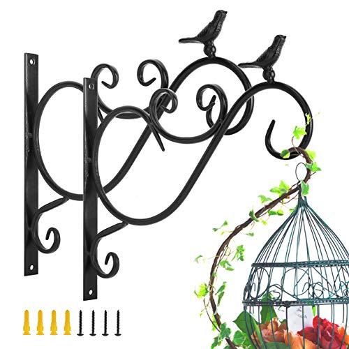 Lewondr Haken für Blumenampel, 2 Stück Retro Gusseisen Wandhaken Aufhänger Halterung mit Schrauben für Blumentöpfe Pflanzen Laternen Hängekörbe, Garten Balkon Zaun Außen Deko - Vögel 01, Schwarz