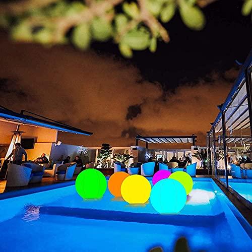 Bola de playa de resplandor LED con control remoto, juguete de la piscina de la bola de playa inflable de 16 ', 13 colores que cambian la luz de la bola, el resplandor iluminado hacia arriba el partid