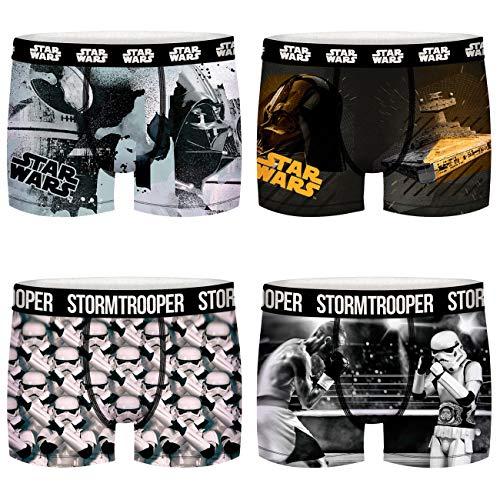 FREEGUN Star Wars Herren Boxershorts Darth Vader Stormtrooper Krieg der Sterne Druck 4er Pack S M L XL XXL, Größe:L, Farbe:Motivmix 1