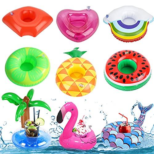 LOVEXIU Getränkehalter, Getränkehalter Schwimmender, Tasse Untersetzer, Badespielzeugset Getränkehalter für Pool Party und Kinder Badespielzeug(9 Stück)