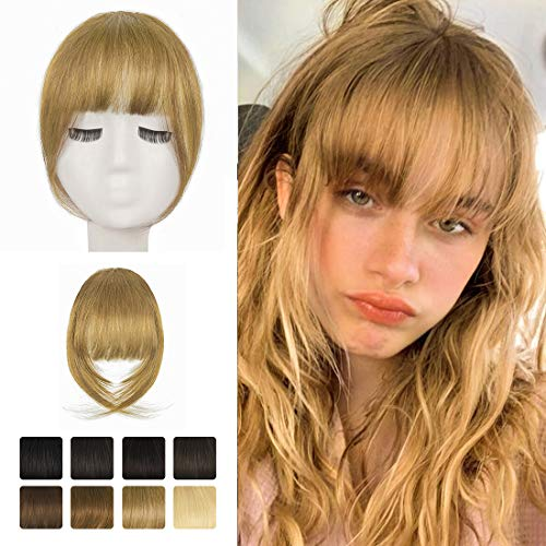 Clip in Bangs, BARSDAR 100% Human Hair Bangs Extensions French Bangs Neat Bangs with Temples Clip on Fringe Bangs Real Hair for Women Natural Color Washable/Dyeable(French-Strawberry Blonde)