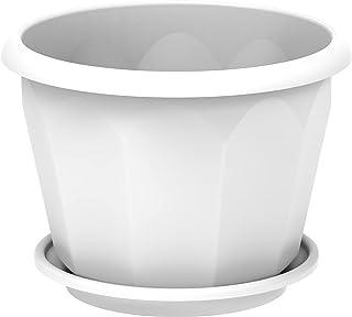 Cosmoplast Plastic Hexagonal Flowerpot 30 With Tray - White, IFFP30060WH
