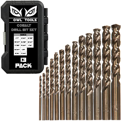 Cobalt Drill Bit Set - 13 Piece M35 Cobalt Drill Bits with Storage Case - Perfect Drill Bits for Metal, Hardened & Stainless Steel, Cast Iron, and More!