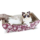 ScratchMe Cat Scratching Post Lounge Bed , Boat Shape Cat Scratcher Cardboard with Catnip, Durable Recycle Board Pads Prevents Furniture Damage