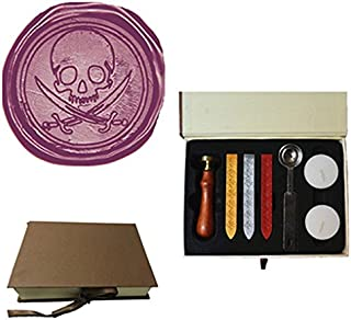 MDLG Vintage Pirate Skull Sword Caribbean Pirate Picture Logo Wedding Invitation Wax Seal Sealing Stamp Sticks Spoon Gift Box Set Kit