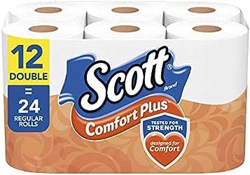 Scott ComfortPlus Toilet Paper, 12 Double Rolls = 24 Regular Rolls, 231 Sheets Per Roll