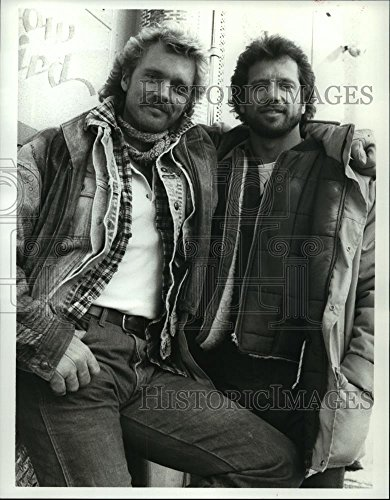 Vintage Photos 1988 Press Photo John Schneider & Tom Wopat in Christmas Comes to Willow Creek