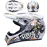 KAAM Casco de motocross unisex con gafas, para bicicleta de montaña, ATV, BMX, Downhill Enduro, color blanco y naranja, S