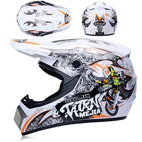 LDJ Casco de motocross con gafas (4 unidades), para niños y adultos, casco de moto para bicicleta de montaña, ATV, BMX, Enduro, Downhill Off, protección de seguridad (naranja blanco, XL)
