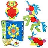 Coogam 130 Piezas Bloques de Patrones de Madera Juego de Forma geométrica de manipulación Manipulative - GráficosTangram Juguetes Regalo de Regalo de Stem para niños con 24 Piezas Tarjetas de diseño