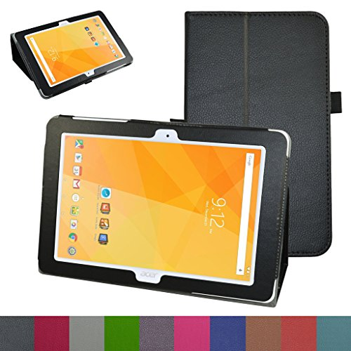 """Acer Iconia One 10 B3-A20 Case,Mama Mouth PU Leather Folio 2-Folding Stand Cover with Stylus Holder for 10.1"""" Acer Iconia One 10 B3-A20 Android Tablet,Black"""