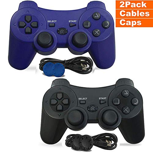 PS3 Controller, 2 Pack Wireless PS3 Controller Dual Vibration Compatible for Playstation 3 with Charge Cable (Blue and Black)