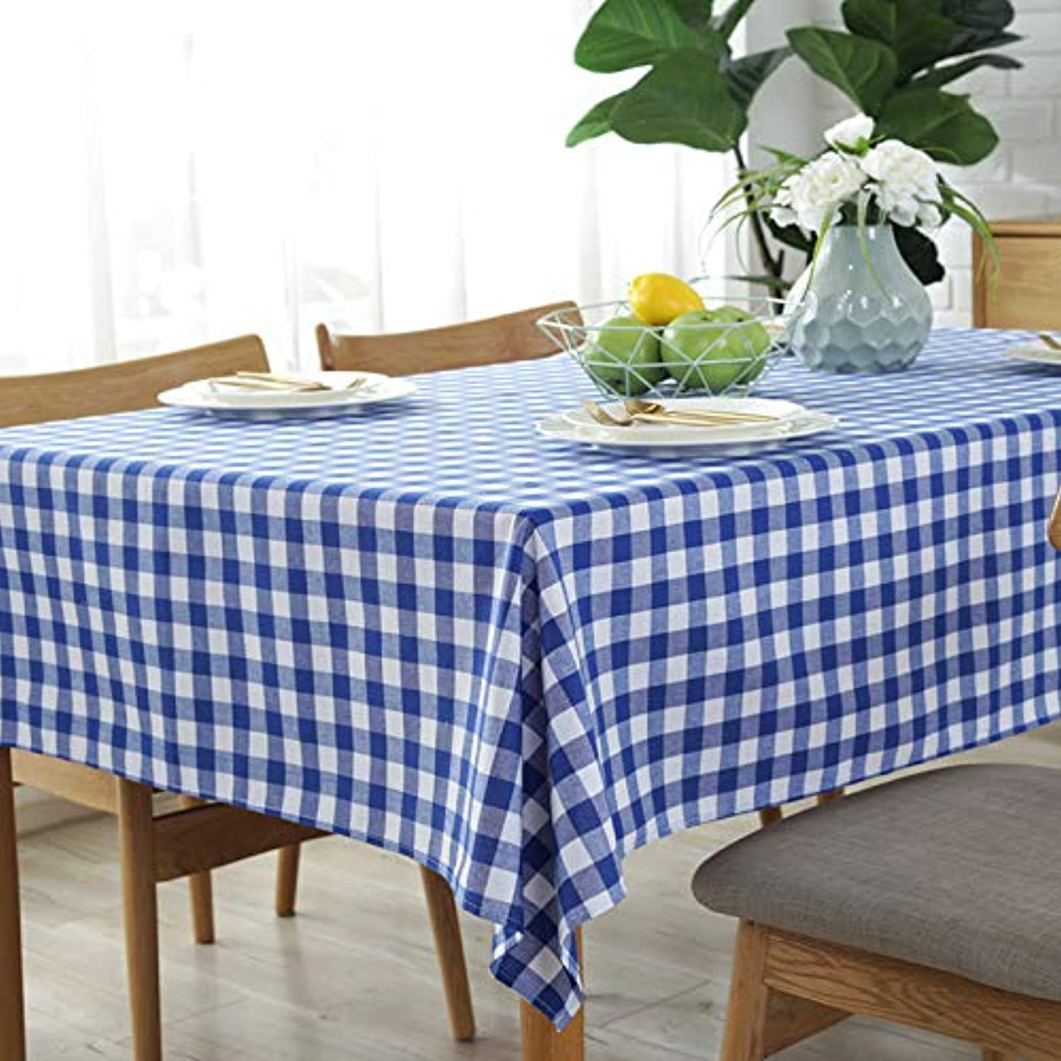 Creek Ywh Nordic net red plaid tablecloth pastoral simple rectangular coffee table cloth cover cloth photo background cloth, bluee plaid tablecloth, 140220