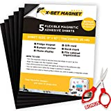 Magnetic Sheets with Adhesive Backing - 5 PCs each 8' x 10' - Flexible Magnetic Paper with Strong Self Adhesive - Sticky Magnet Sheets for Photo and Picture Magnets, Stickers and other Craft Magnets