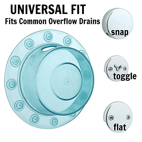 SlipX Solutions Bottomless Bath Overflow Drain Cover for Tubs, Adds Inches of Water to Your Bathtub for a Warmer, Deeper Bath (Aqua, 4 inch Diameter)