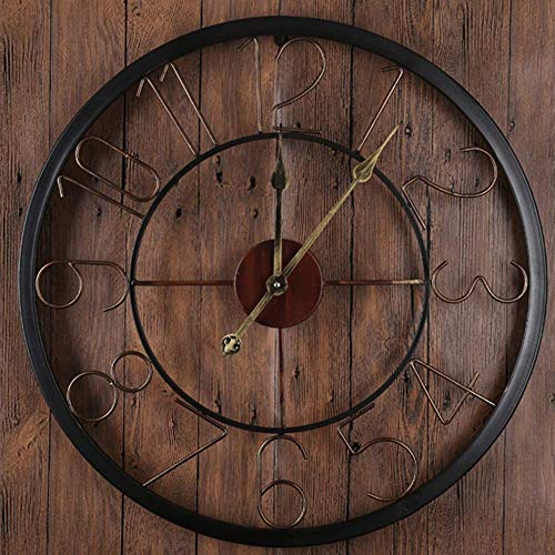 Klokken Metal Wall Clock, Mute 3D Analog Ronde Nostalgische Iron Cijfer Opknoping Klok Formodern Villa Room Upscale Hotel Decor alarm clock