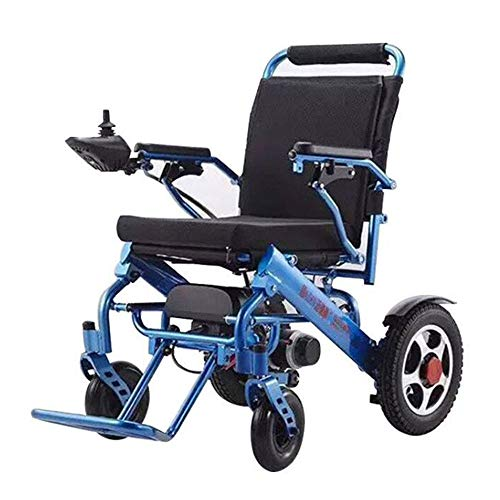 Myfei 2019 Fold & Travel Lightweight Motorized Electric Power Wheelchair Scooter, Aviation Travel Safe Electric Wheelchair with Wireless Remote Control,Only 55 Lbs,Blue